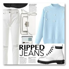 """Ripped Jeans"" by stylemoi-offical ❤ liked on Polyvore featuring Marc by Marc Jacobs, Clinique, rippedjeans and stylemoi"