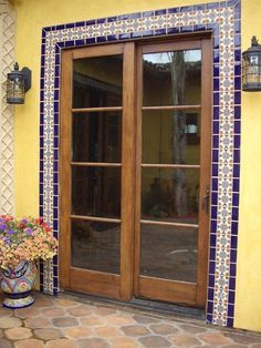 Santa Barbara tile series from Tierra y Fuego, San Diego. Spanish Style Homes, Spanish Revival, Spanish House, Spanish Colonial, Door Design, House Design, Exterior Tiles, Exterior Windows, Tiny House Stairs