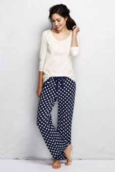 Women's Long Sleeve Knit Fall Print Sleep Set from Lands' End or these in Large any color Lilac is on sale