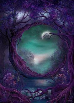 Purple Moon. Fantasy Art.