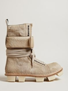Rick Owens Men's Cow Hide Plinth Boots