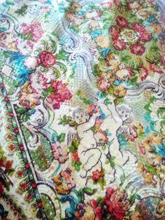 Vintage Angels Cherubs Cut Velvet Bedspread by BellaCottageVintage