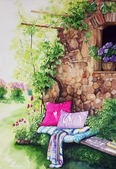Our social Life Watercolor Landscape Paintings, Watercolour Painting, Landscape Art, Painting & Drawing, Anime Art Girl, Beautiful Paintings, Cute Drawings, Cute Art, Illustration Art