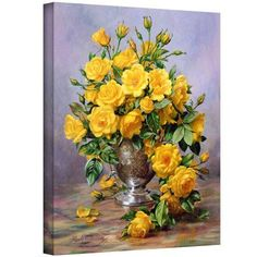 ArtWall Albert Williams Roses in a Silver Vase Gallery-wrapped Canvas, Size: 20 x 24, Green