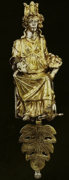 Chair ornament personifying the City of Alexandria, Egypt, Rome, ca. Fourth Century A.D., gilded silver