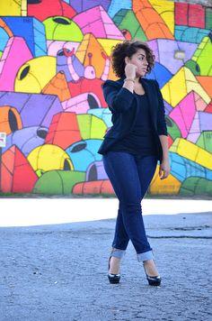 Black Blazer, Black Peplum Top and Blue Folded Jeans