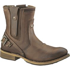 CAT Footwear UK - Rugged boots and shoes - Caterpillar work boots Bike Boots, Mens Motorcycle Boots, Brown Dress Boots, Brown Boots, Casual Work Boots, Caterpillar Boots, Biker Wear, Steel Toe Work Shoes, Best Shoes For Men
