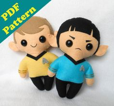 PDF PATTERN  Spock & Kirk Chibi Plush Digital by michellecoffee, $10.00