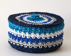 Satin Cord Crochet Basket in Navy Silver by lissabeecreations,
