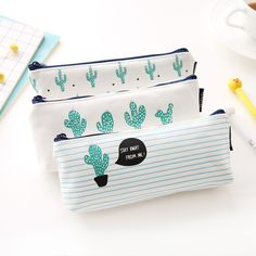 Cactus pencil case, perfect for back-to-school supplies! Available at www.beradkids.com