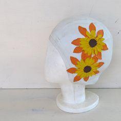 50s vintage orange flower swim cap  diving belle by JennyandPearl, $28.00