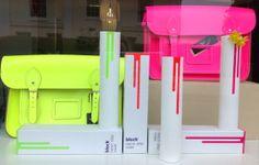 Kozihaus goes Neon… window display with Block Neon Drip Vases and Fluoro Cambridge Satchels Blog Images, Cambridge Satchel, Satchels, Vases, Window, Neon, Display, Floor Space, Billboard