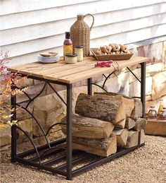Main image for Outdoor Eucalyptus Storage Table With Steel Frame