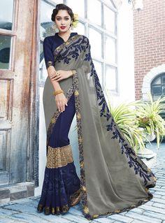 Saree crafted with multi color thread embroidery along with lase patch border and designer Art Silk blouse material. Lehenga Style Saree, Sari, Modern Saree, Indian Sarees Online, Saree Shopping, Work Sarees, India Fashion, African Fashion, Half Saree