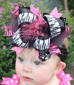 Zebra and Pink Over the Top Bow