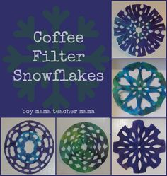 Boy mama: coffee filter snowflakes arts & crafts for kids Toddler Crafts, Crafts For Kids, Arts And Crafts, Paper Crafts, Paper Art, Winter Activities, Craft Activities, Church Activities, Toddler Activities