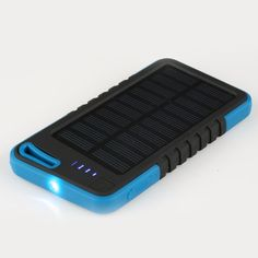 New Portable Solar Charger 5000mAh Power Bank bateria externa Dual USB with LED Light Powerbank for iphoneHTC Smart Phone