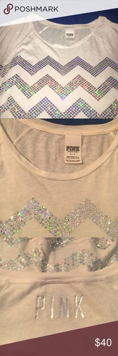 LOVE PINK sequent White with beautiful shiny sequents! Little worn, no stains. PINK Victoria's Secret Tops Tees - Short Sleeve