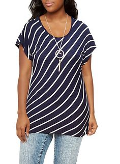 Plus Size Slanted Stripe Dolman Top with Detachable Necklace,NAVY