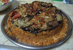 Iraqi food- Maqlobi with rice and eggplant