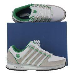 sneakers for cheap 228e6 99721 K-Swiss Mens Rinzler SP Trainers White Gull Grey Green