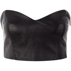 Funlayo Deri Leather Bustier ($110) ❤ liked on Polyvore featuring tops, shirts, crop tops, bralets, blusas, black top, leather shirt, bustier tops, leather bustier and black crop top