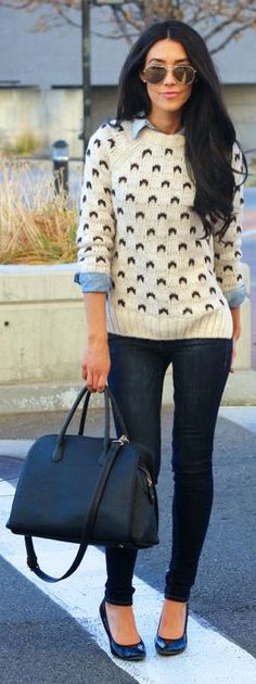 Cream And Black Printed Sweater
