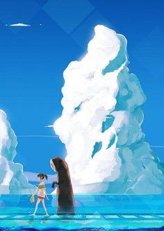 Chihiro and No Face by http://missifa.deviantart.com/art/chihiro-and-kaonashi-202510854