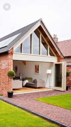 A gable roof is a roof with two sloping sides that come together at a ridge, creating end walls with a triangular extension, called a gable, at the top. Bungalow Extensions, House Extensions, Kitchen Extensions, Orangerie Extension, Bungalow Renovation, House Goals, Architecture, My Dream Home, Exterior Design