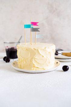 Vanilla Buttermilk Cake, Vanilla Bean Cakes, Cherry Compote, Two Layer Cakes, Swiss Meringue Buttercream, Buttercream Recipe, Homemade Pastries, Homemade Cheesecake, Delicious Cake Recipes