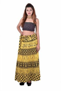 Full Long Skirts Indian for Women Indian Skirt, Wrap Around Skirt, Printed Cotton, Skirts, Summer, Shopping, Color, Handmade, Women