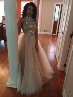 Charming Prom Dress Tulle Prom Dress A-Line Prom Dress High-Neck Prom Dress Beading Prom Dress Noble Prom Dress by prom dresses, $179.00 USD
