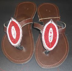 Maasai Leather Sandals decorated with beads