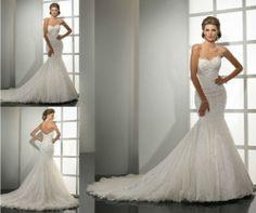 2013 White/Ivory Lace Mermaid Wedding Dress Custom Size 2-4-6-8-10-12-14-16+
