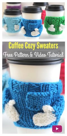 Coffee Cozy Sweaters Free Pattern and Video Tutorial