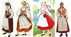 Ensimmäiset kansallispuvut valmistettiin 1800 -luvun lopulla ja ensimmäiset pukumallit julkaistiin Koti ja yhteiskunta -lehden liitteenä vuo... Folk Costume, Costumes, Little Miss, Finland, Scandinavian, Crochet Patterns, Culture, Female, Clothes