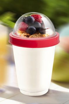 Yo2Go: Yogurt To Go Cup. Keep yogurt and toppings crisp until you reach your destination.  Homemade yogurt parfait to go cup! $15.00.