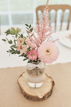 Table Centre Pink Flowers Floral Eucalyptus Dahlia Wood Slice Laser Cut Name Hessian Flag Runner Wood Farm Barn Wedding Suffolk Faye Amare Photography #wedding #Table #Centre #Wood #Slice #Hessian #Flag #BestDayEver #pink #Dahlia #Gypsophila #Jar #Flo