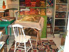 Karen Kahle's rug hooking studio.