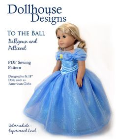 """To The Ball""  Ball Gown Sewing Pattern for 18"" American Girl Dolls Dollhouse Designs DIGITAL DOWNLOAD DIY pdf blue dress 2015"