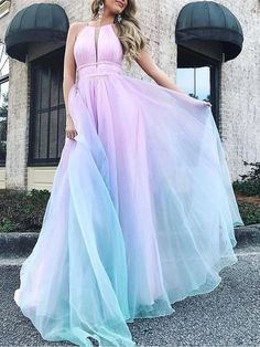 Pink Patchwork Cut Out Gradient Color Halter Neck Backless Big Swing Bohemian Maxi Dress - Maxi Dresses - Dresses Pretty Prom Dresses, Ball Dresses, Elegant Dresses, Homecoming Dresses, Sexy Dresses, Cute Dresses, Beautiful Dresses, Ball Gowns, Evening Dresses