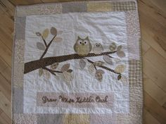Unisex Owl baby boy or girl quilt of flannel & by barabooboo