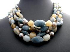 Blue Green Art Glass Bead Multi 5 Strand Brown Marked Japan Necklace Vintage   eBay