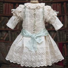 Wonderful Antique Original French White Cotton Dress of Broderie from respectfulbear on Ruby Lane