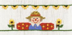 "Plate #140 ""Sunflower Scarecrow"" Such a cute design for fall."
