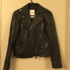 Classic biker leather jacket Classic style never go out dated. Has a hole on sleeve. Hard to notice. Aeropostale Jackets & Coats