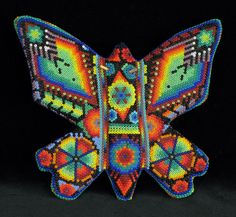 Huichol Beaded Mariposa (Large Butterfly) (#hcs-02) Huichol people, Nayarit, Mexico, c. 2006. Beads pressed into beeswax on wood sculpture