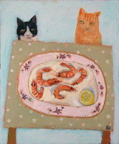 Vanessa Cooper, Gatos Cats, Naive Art, Outsider Art, Whimsical Art, Animal Paintings, Dog Art, Crazy Cats, Pet Portraits