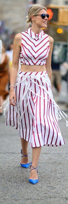 Red striped crop ensemble