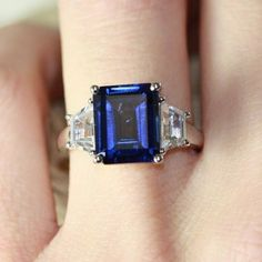 Emerald Cut Blue Sapphire Engagement Ring 3 Stone Wedding Band 10k White Gold, 7